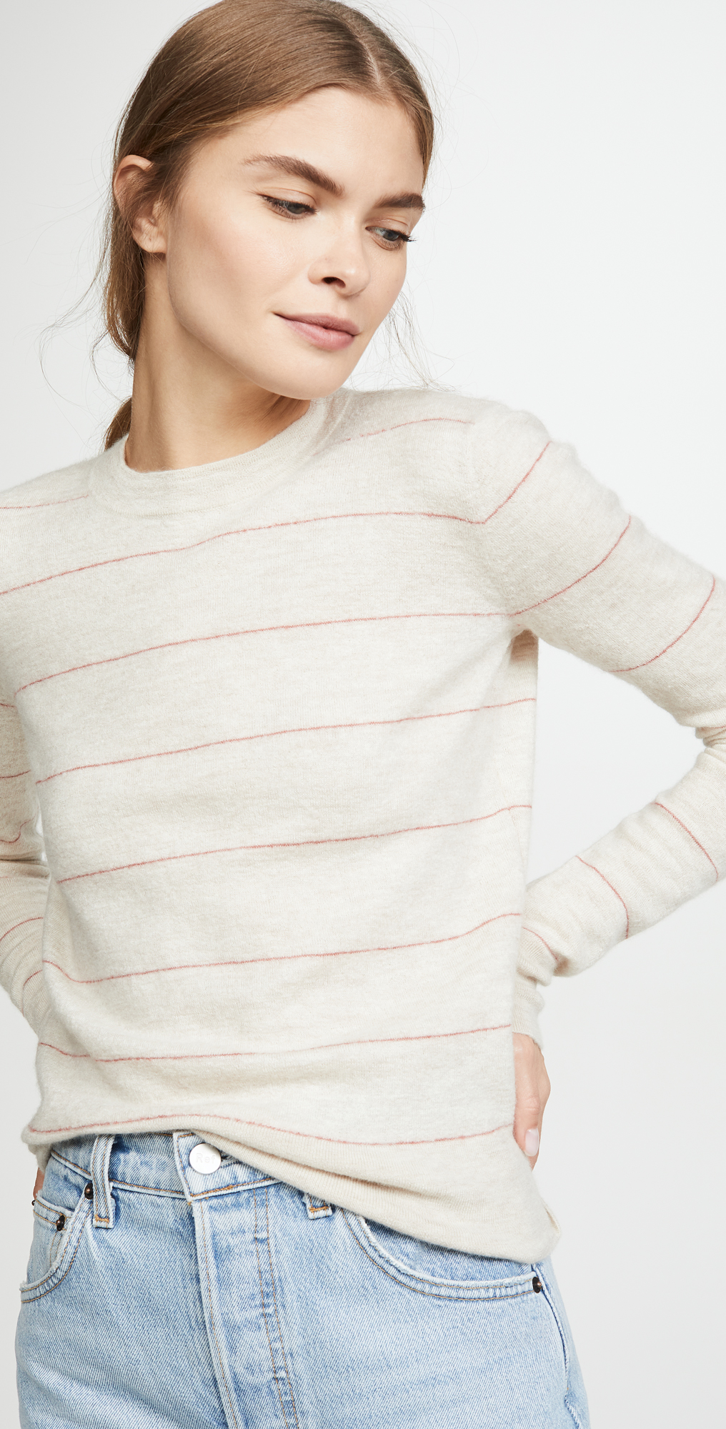 Vince Striped Fitted Cashmere Crew Sweater | SHOPBOP