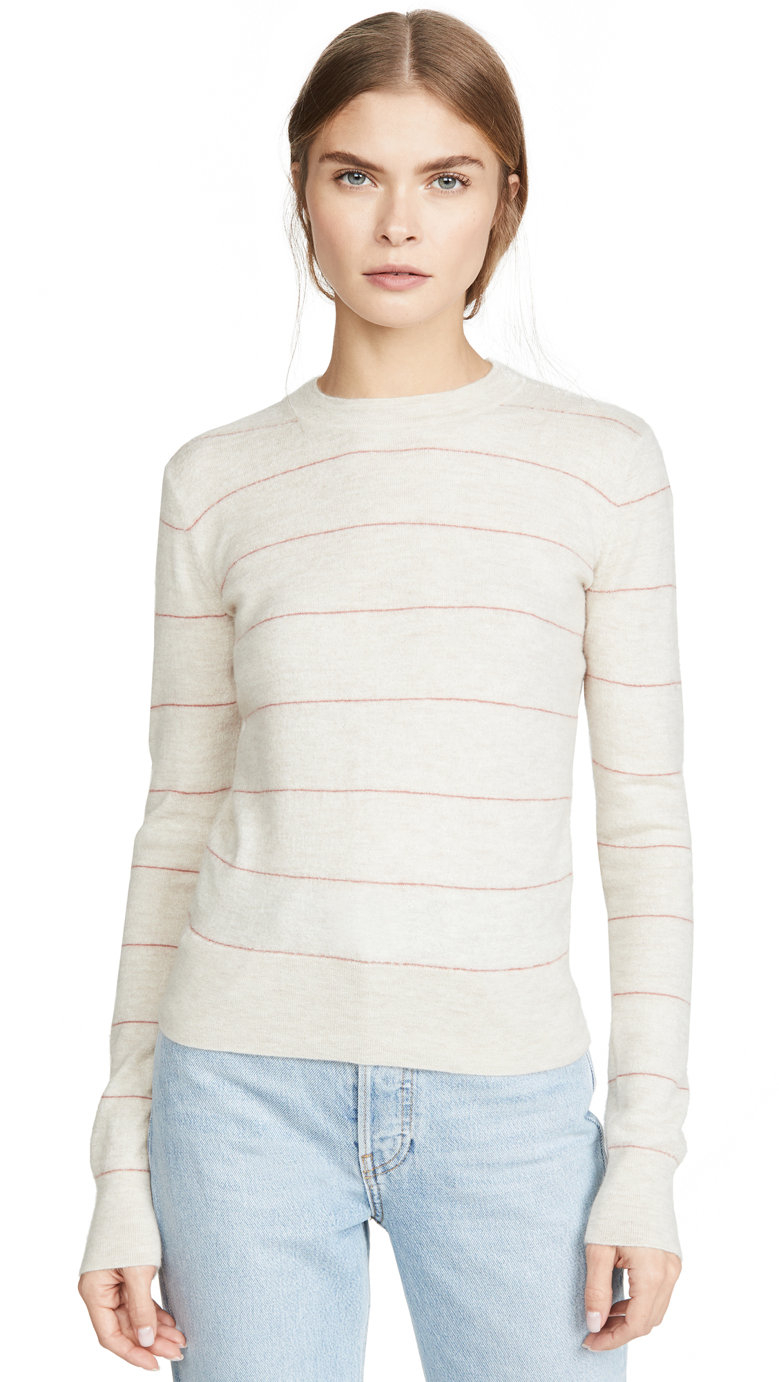 Buy Vince online - photo of Vince Striped Fitted Cashmere Crew Sweater