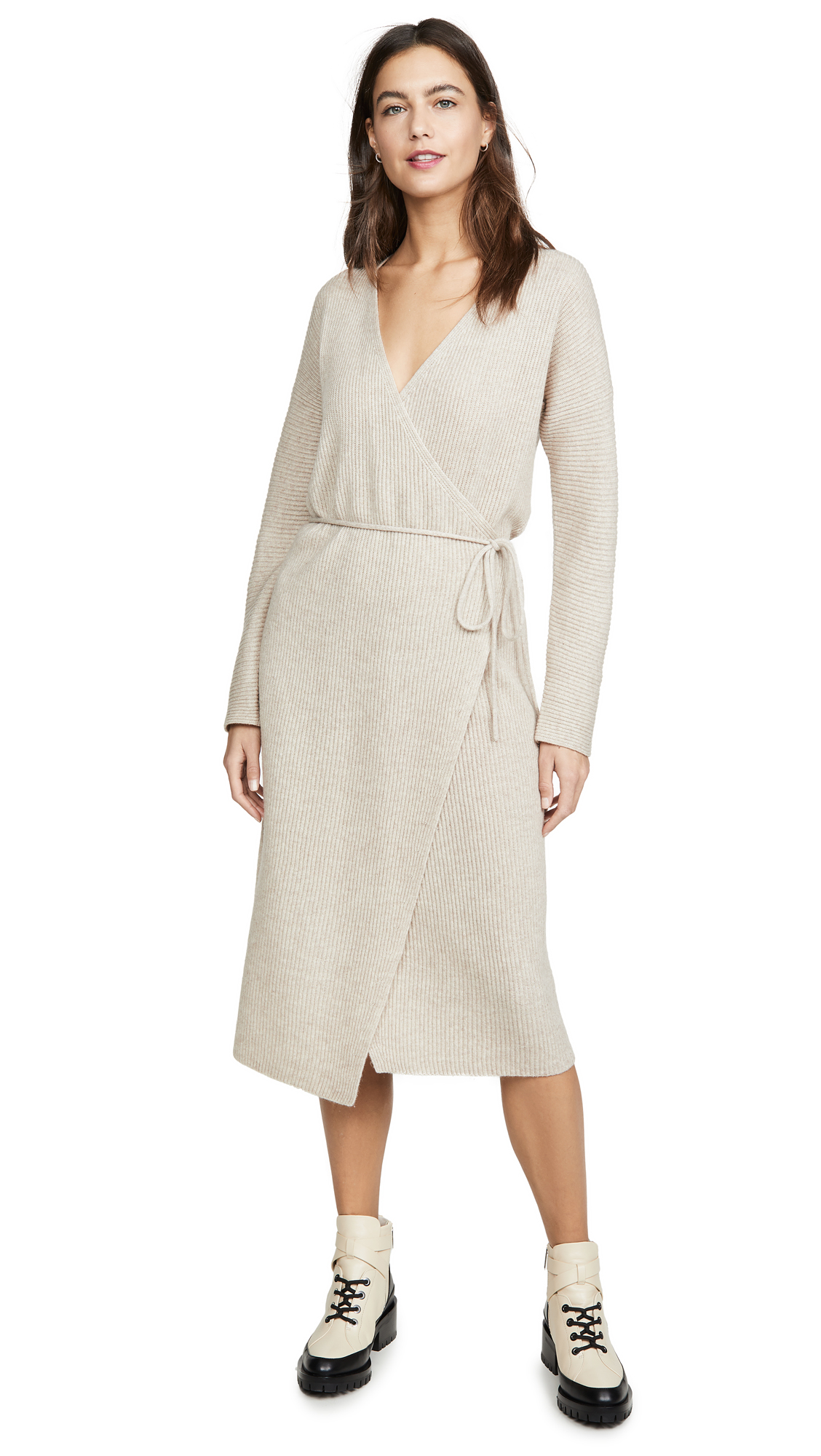 Buy Vince online - photo of Vince Ribbed Wrap Dress
