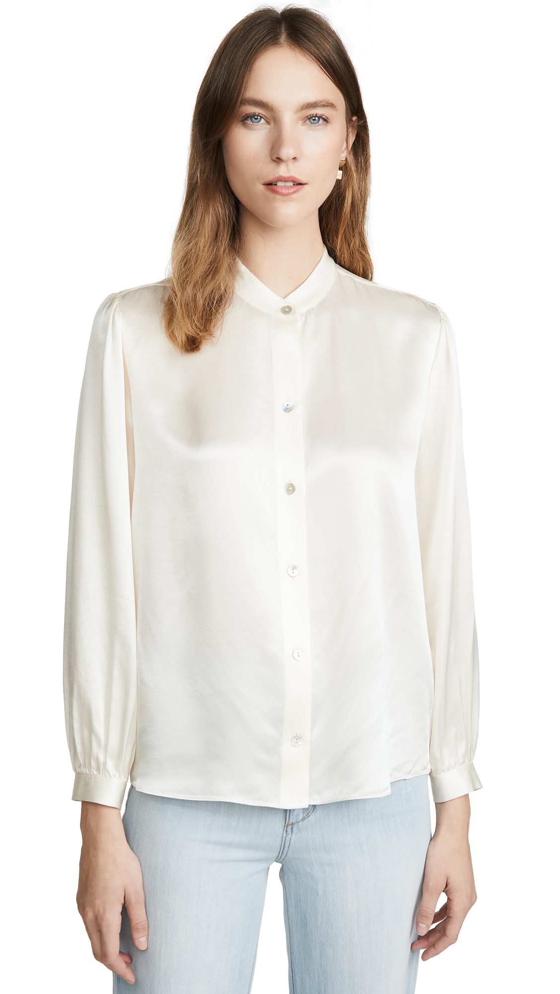 Buy Vince online - photo of Vince Shirred Band Collar Blouse