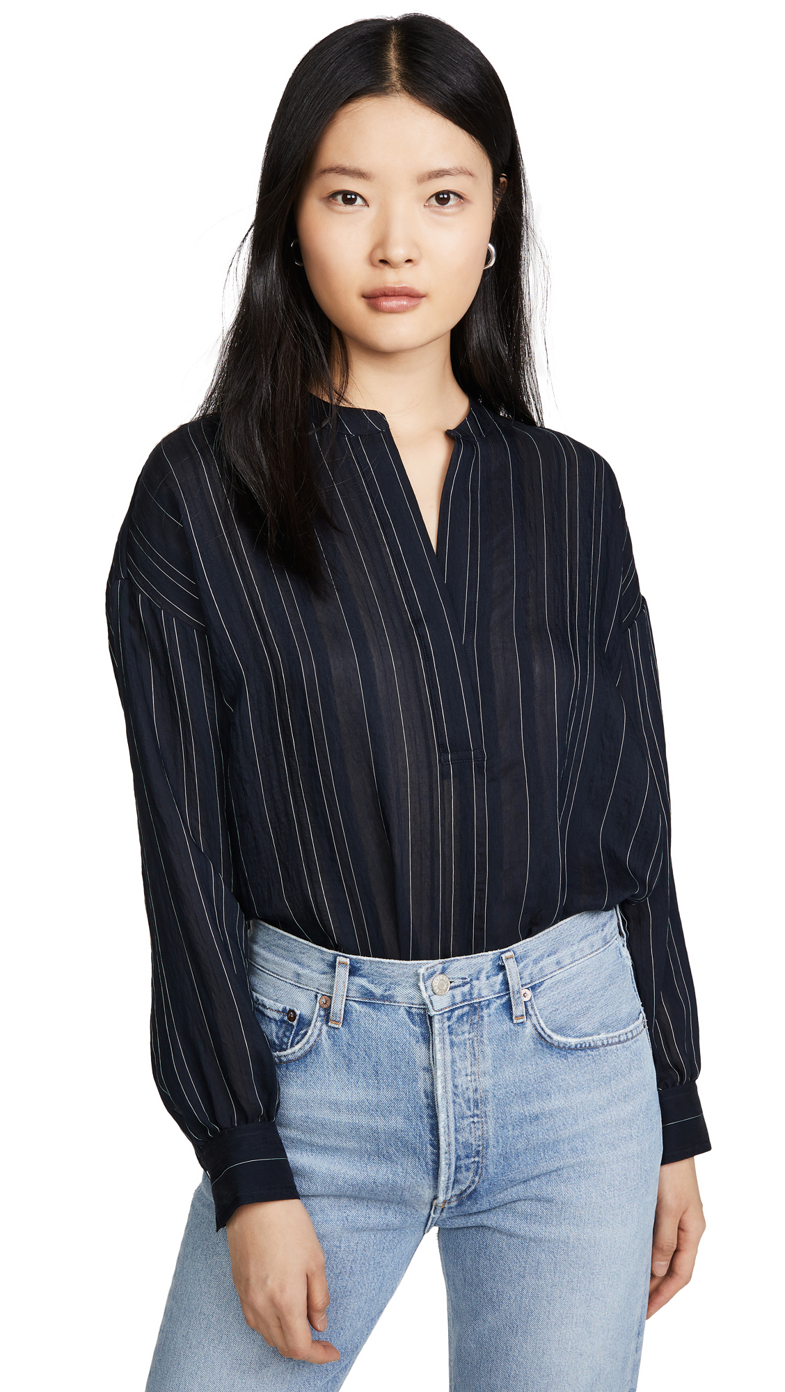 Buy Vince online - photo of Vince Drapey Stripe Pullover