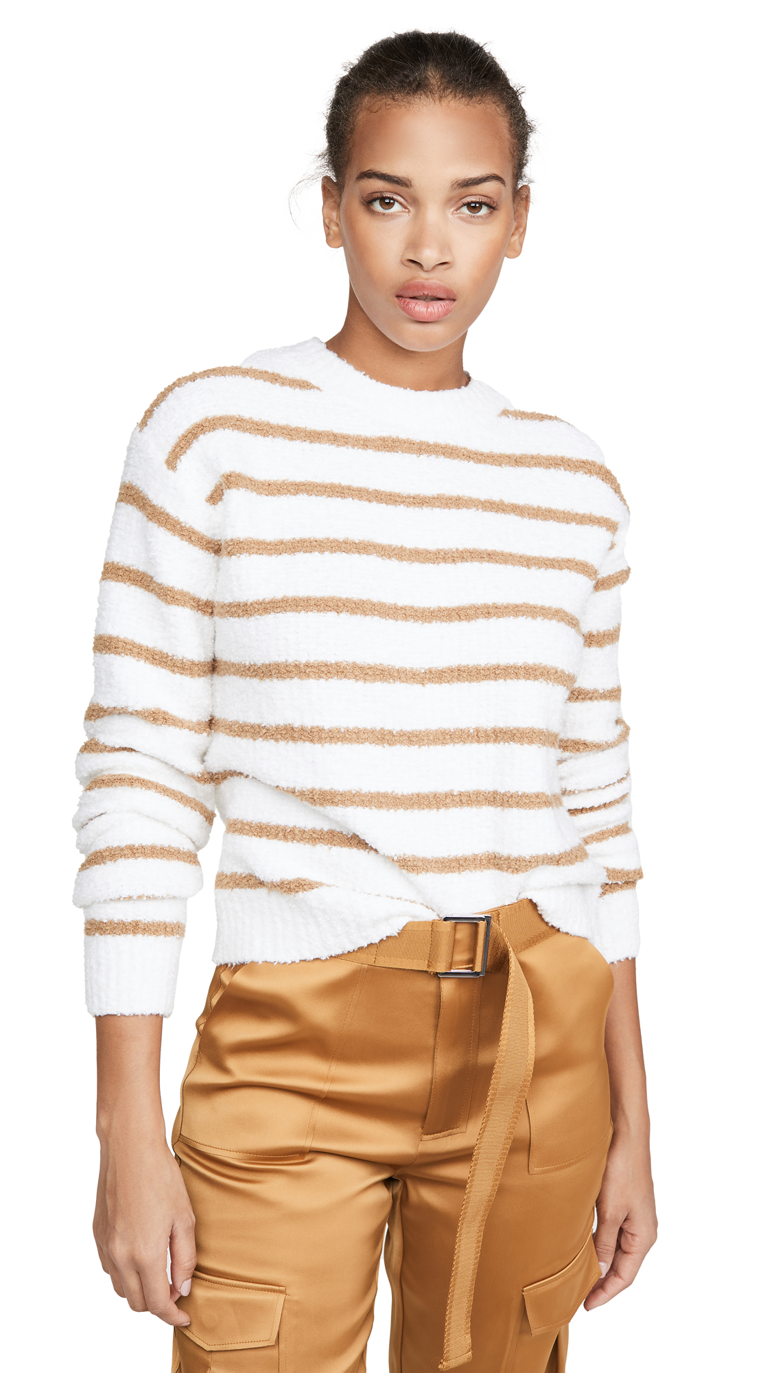 Buy Vince online - photo of Vince Striped Waffle Stitch Crew Sweater