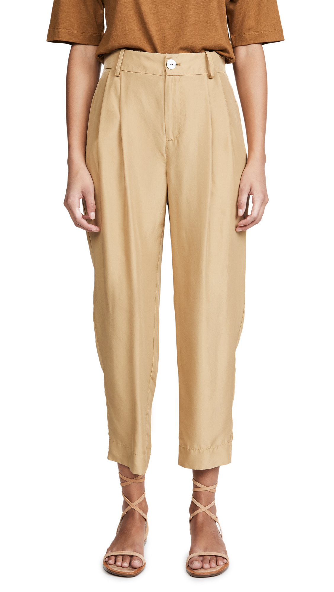 Buy Vince online - photo of Vince Cropped Silk Trousers