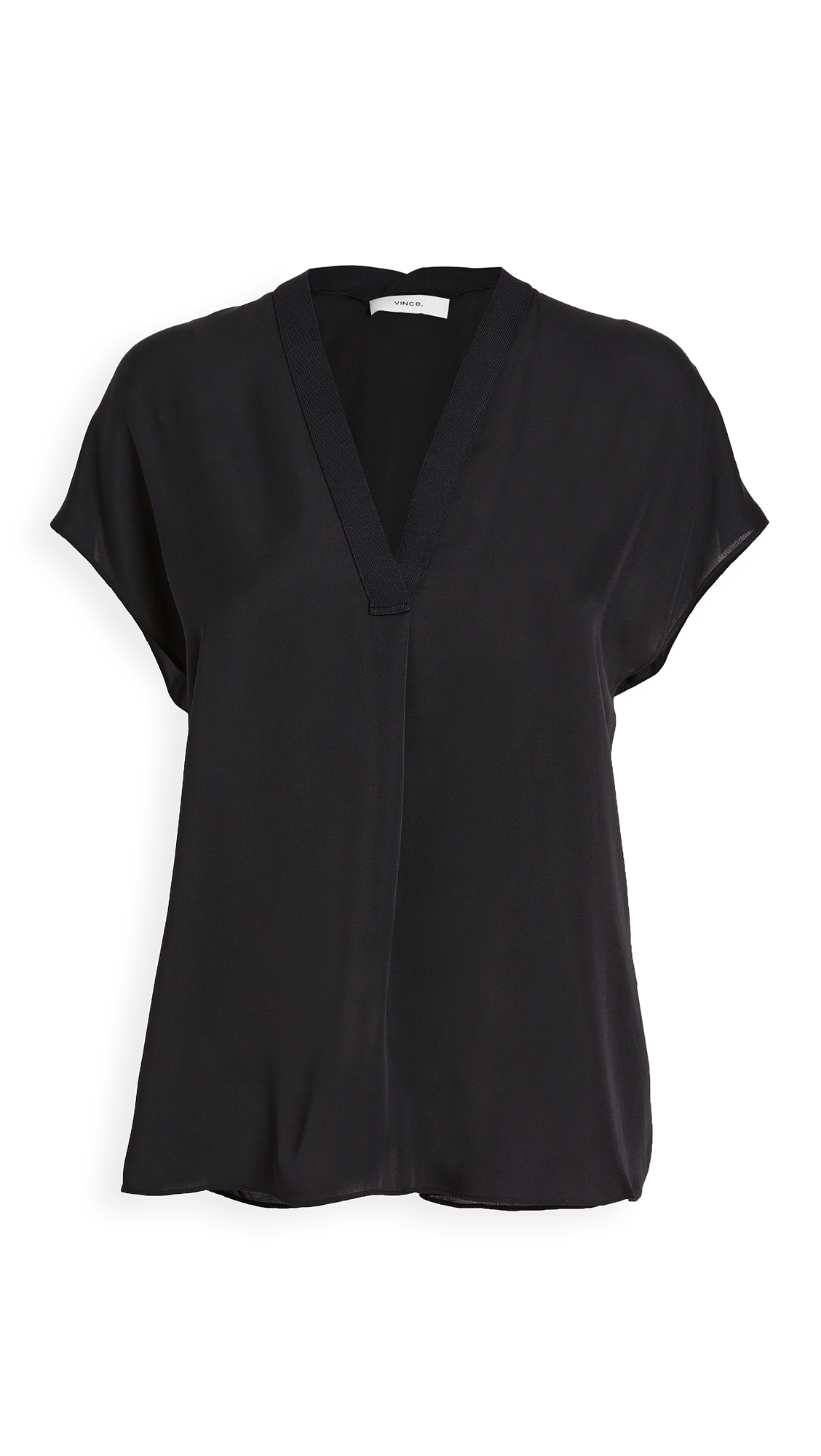 Vince Short Sleeve Rib Trim Double V Neck Blouse - 50% Off Sale