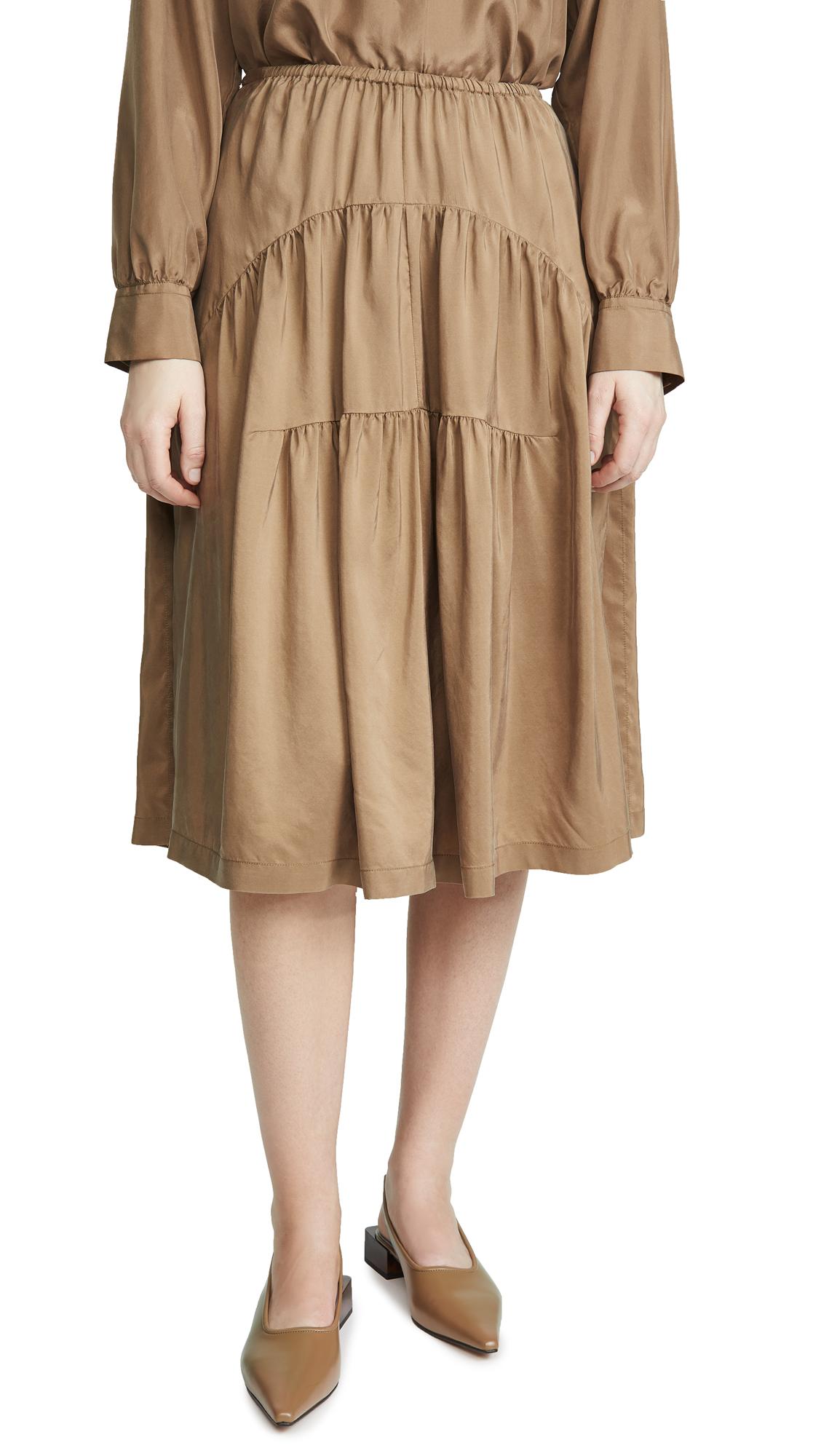 Vince Shirred Silk Habotai Skirt
