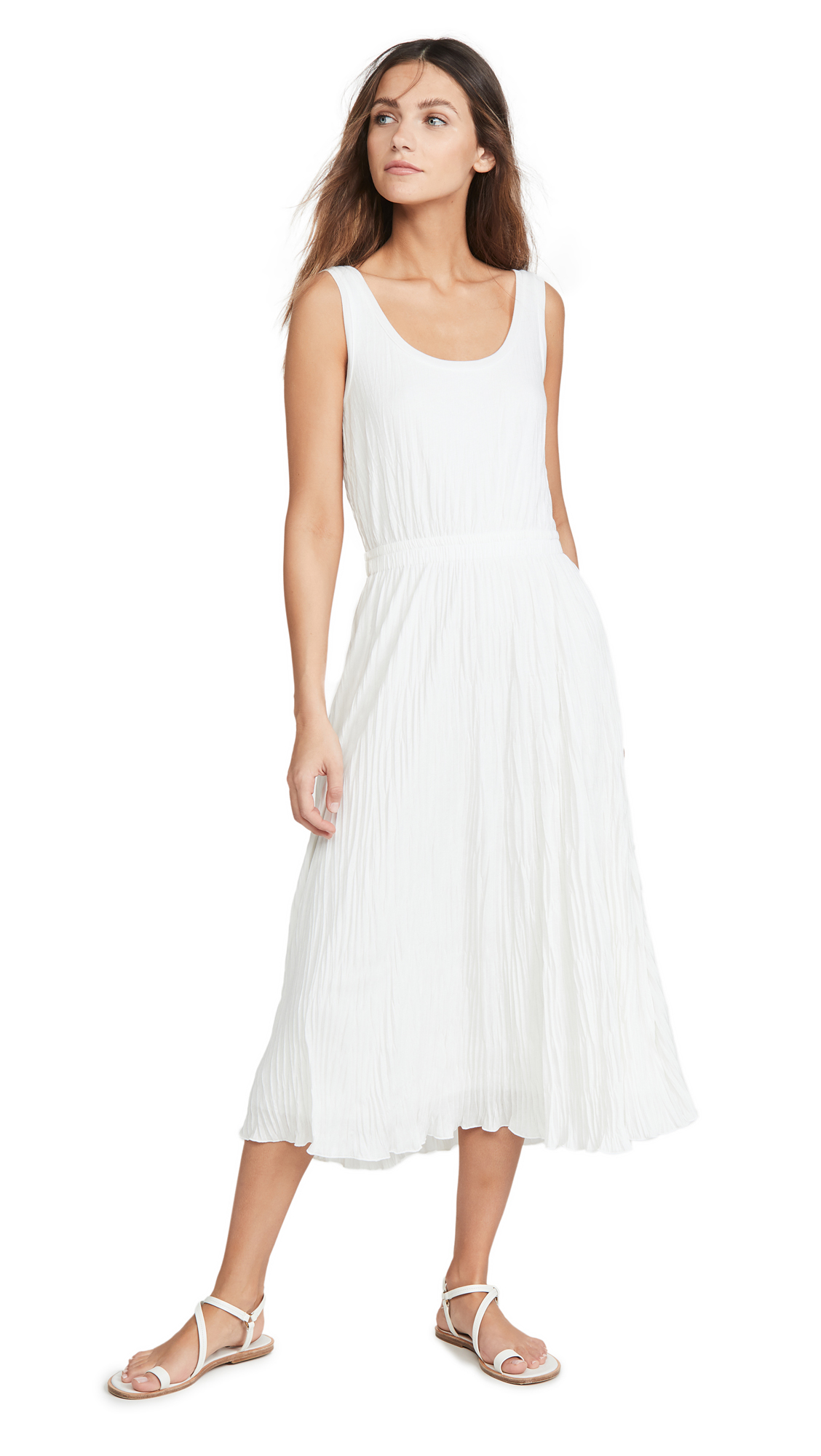 Buy Vince online - photo of Vince Pleated Scoop Neck Tank Dress