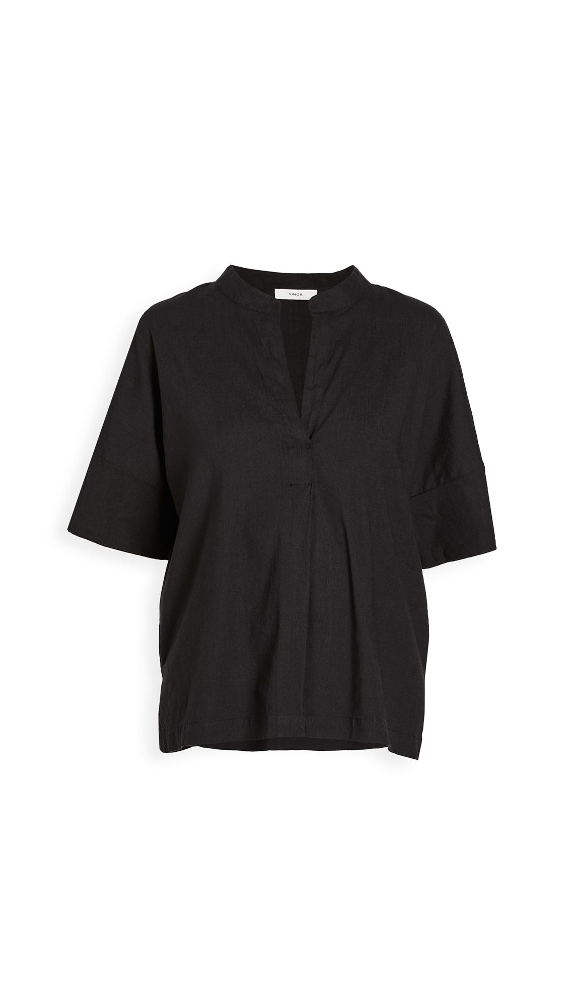 Photo of Vince Short Sleeve Linen Popover Shirt - shop Vince Tops, Blouses online