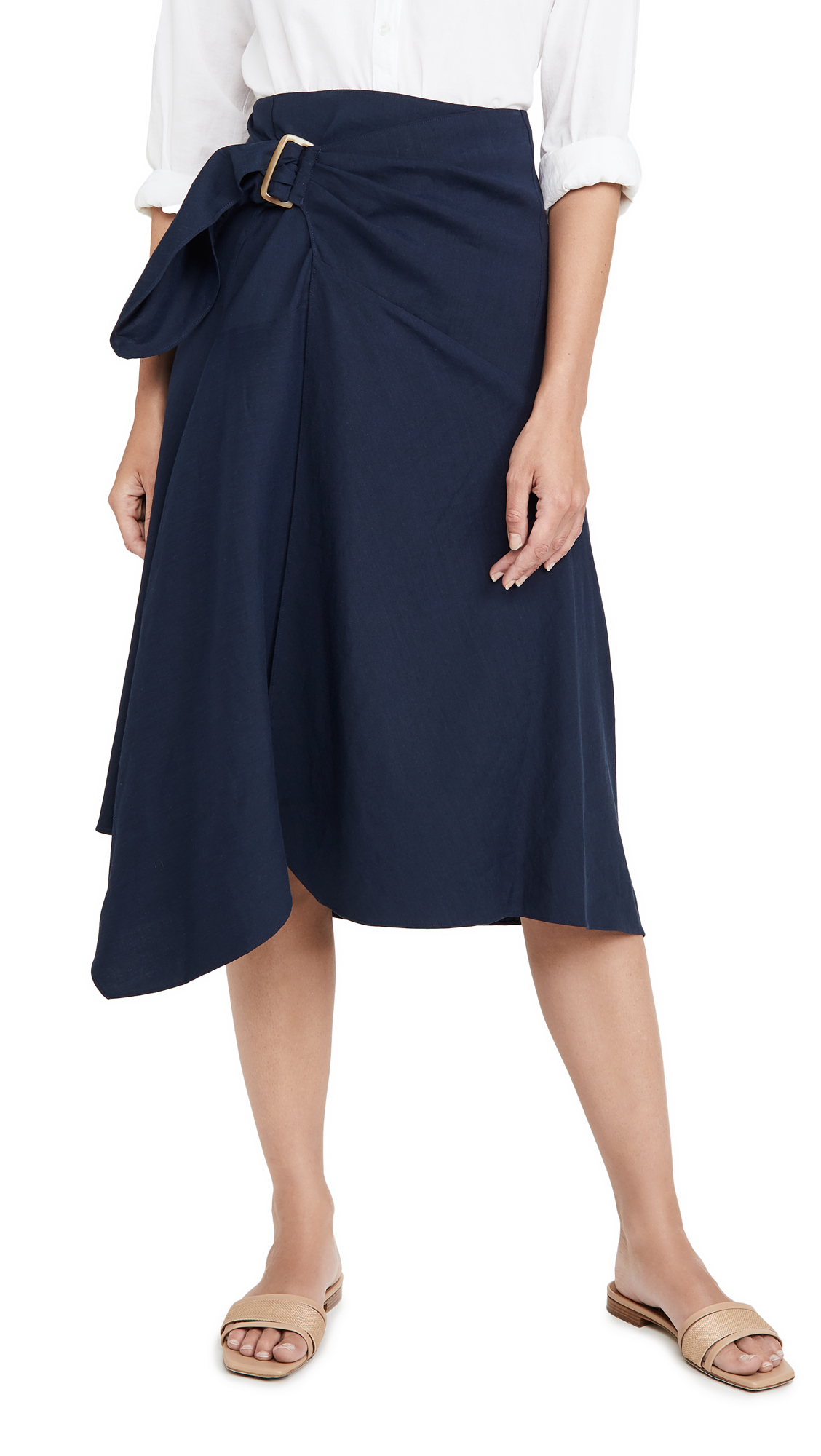 Buy Vince online - photo of Vince Side Buckle Draped Skirt