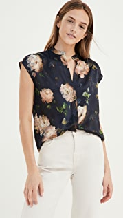 Vince Painted Rose Shell Blouse