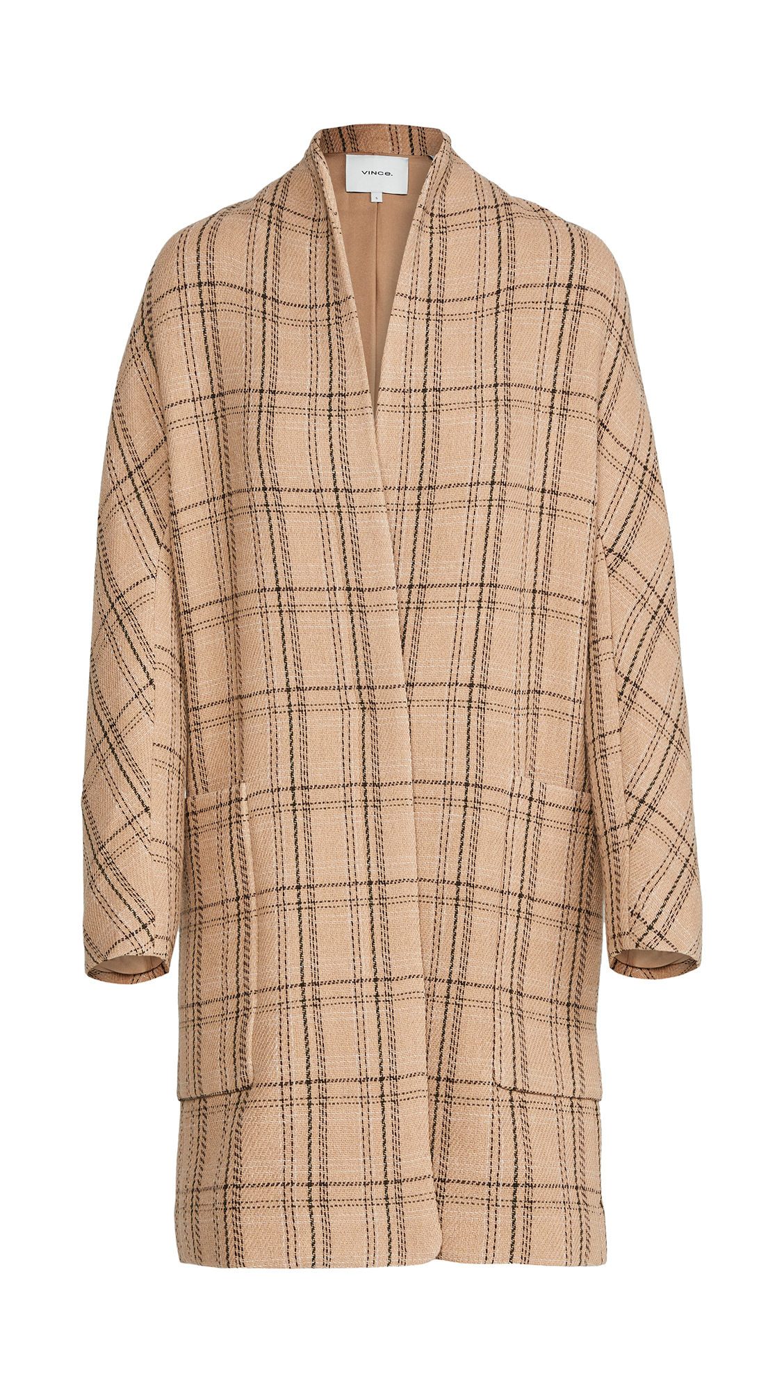 Vince PLAID COLLARLESS COAT