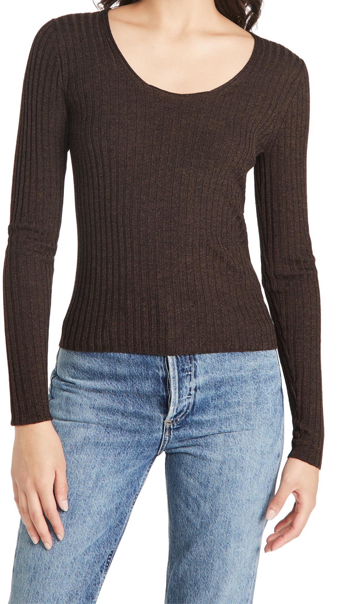 Vince Skinny Rib Scoop Neck Sweater