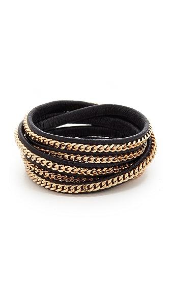 Vita Fede Capri 5 Wrap Bracelet In Rose Gold/Black