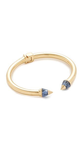 Vita Fede Mini Titan Metal Tip Stone Bracelet In Gold/Lapis