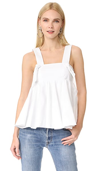 Viva Aviva Oversized Knotted Top In White Poplin