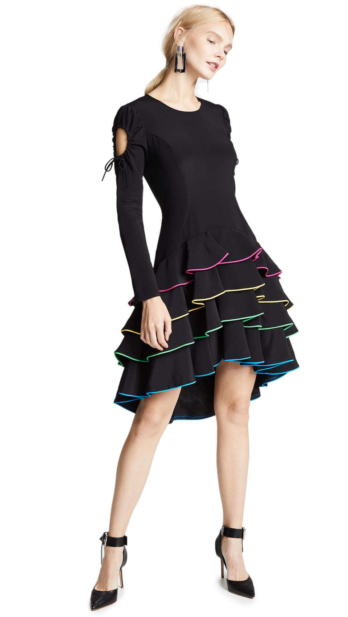 Viva Aviva Adora Tiered Corded Ruffle Dress In Black/Multi