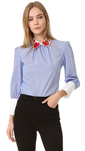 Vivetta Heart Collar Long Sleeve Blouse
