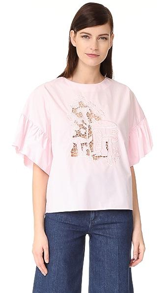 Vivetta Flounce Sleeve Blouse In Pink