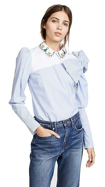 Vivetta Jerevan Blouse In White/Blue