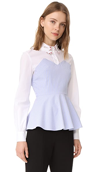 Vivetta La Canea Blouse In White/Blue