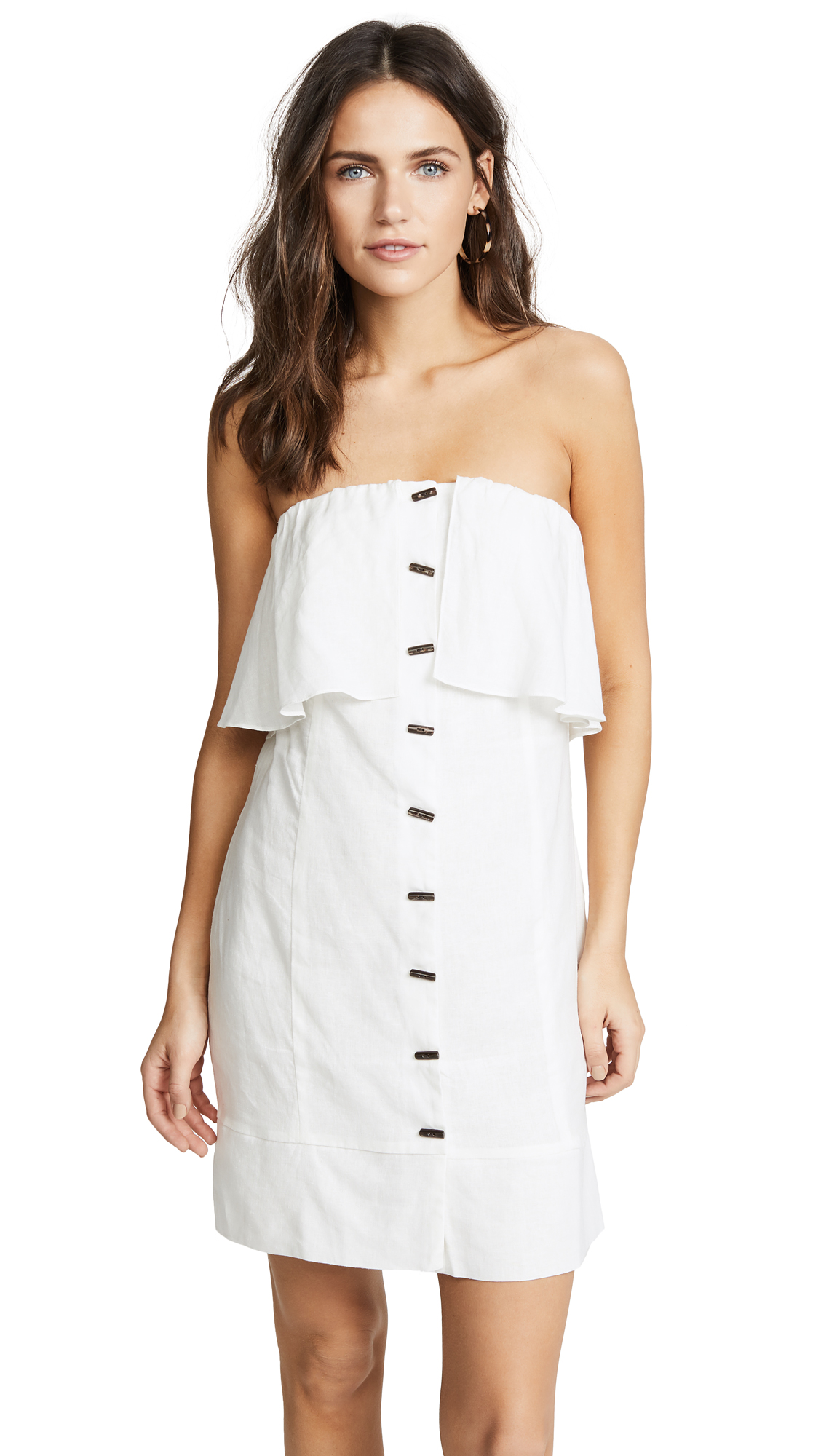 ViX Swimwear Off White Strapless Button Dress