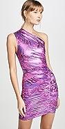 Versace Jeans Couture 单肩金属色连衣裙
