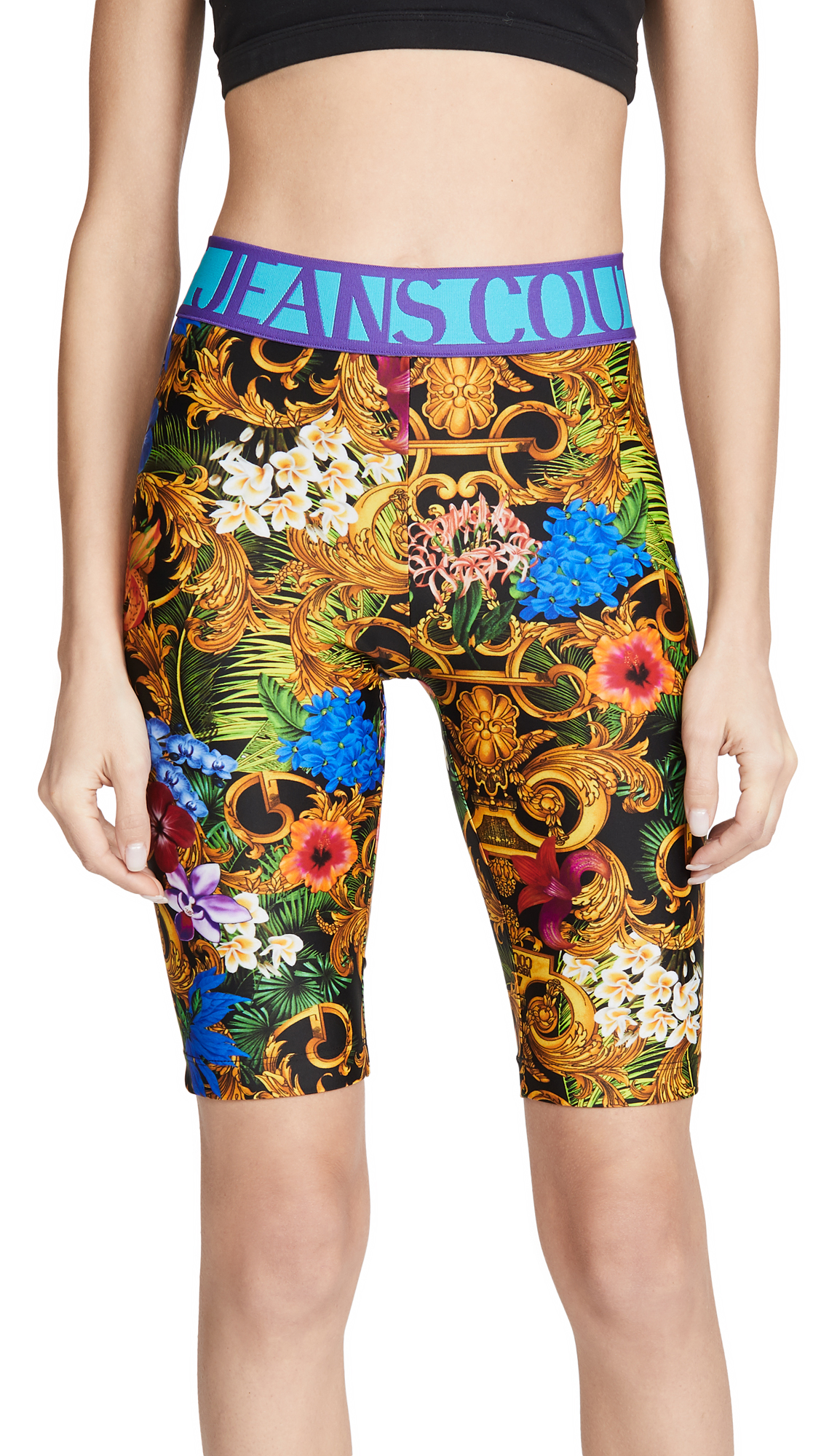 Buy Versace Jeans Couture online - photo of Versace Jeans Couture Printed Elastic Logo Biker Shorts