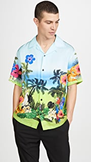 Versace Jeans Couture Printed Camp Collar Shirt