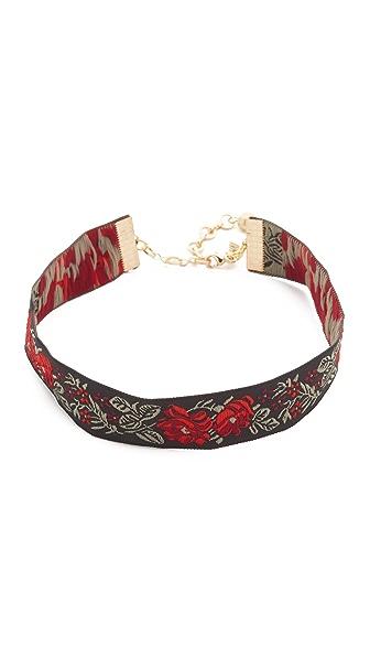 Vanessa Mooney Rose Ribbon Choker Necklace