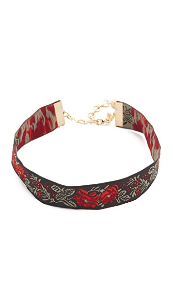 Vanessa Mooney Rose Ribbon Choker Necklace