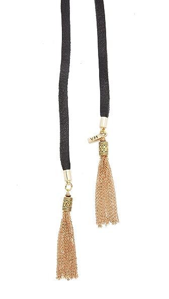 Vanessa Mooney The Demi Bolo Necklace In Black/Gold