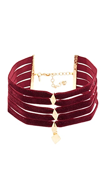 Vanessa Mooney The Delilah Choker Necklace In Burgundy/Gold