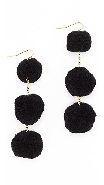 Vanessa Mooney The Dragnet Pom Earrings - Black