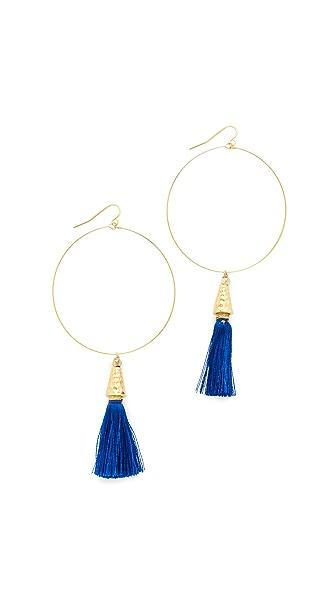 Vanessa Mooney The Summer of Love Tassel Hoop Earrings - Blue