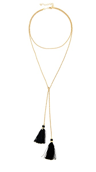 Vanessa Mooney The Panther Bolo Necklace - Black/Gold