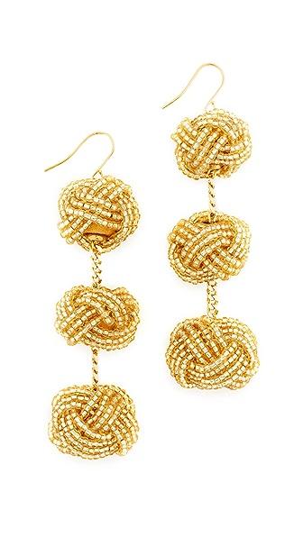 Vanessa Mooney Beaded Astrid Knot Earrings In Light Gold