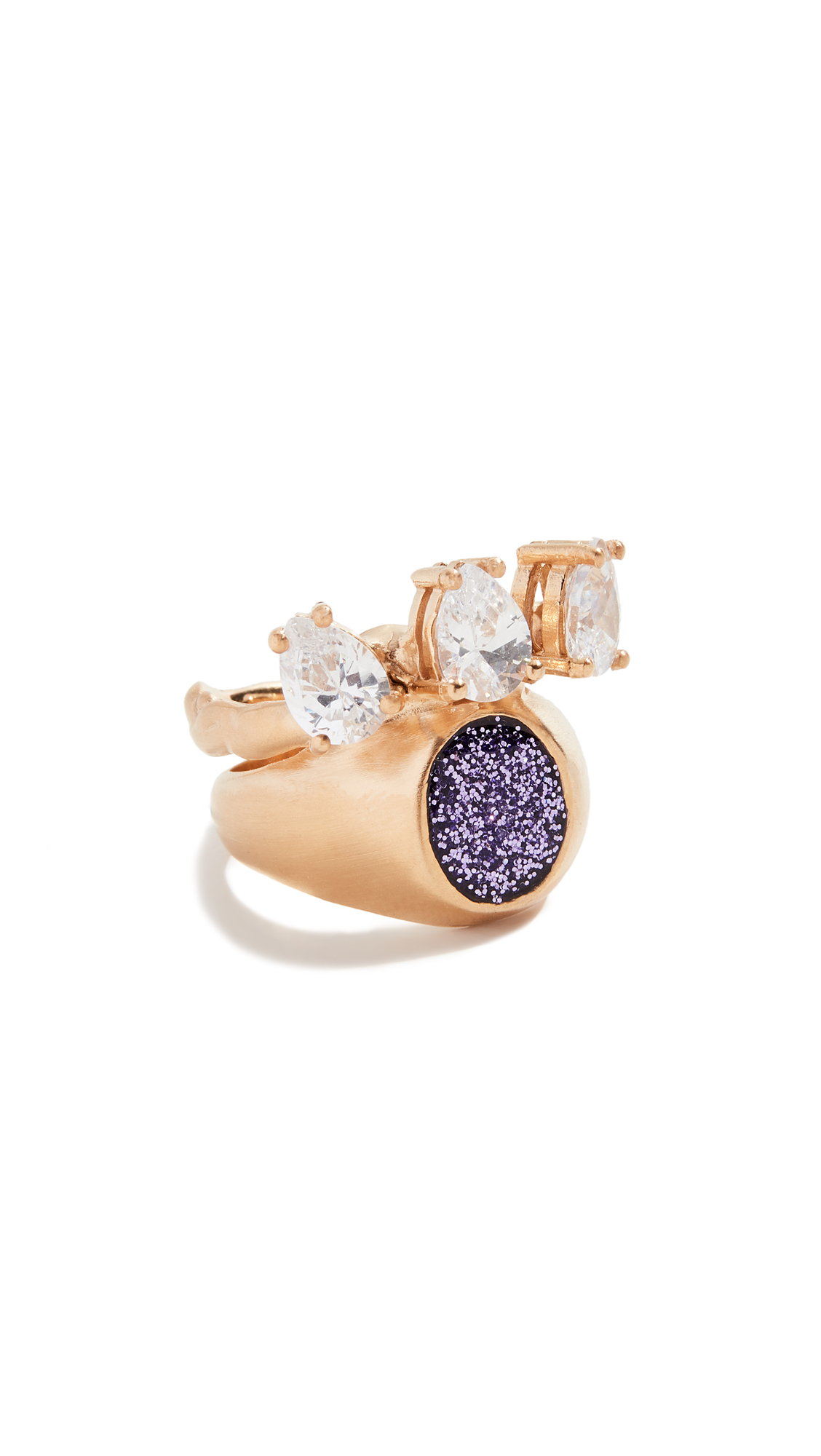 Voodoo Jewels Sigillum Ring with Three Stones - Purple