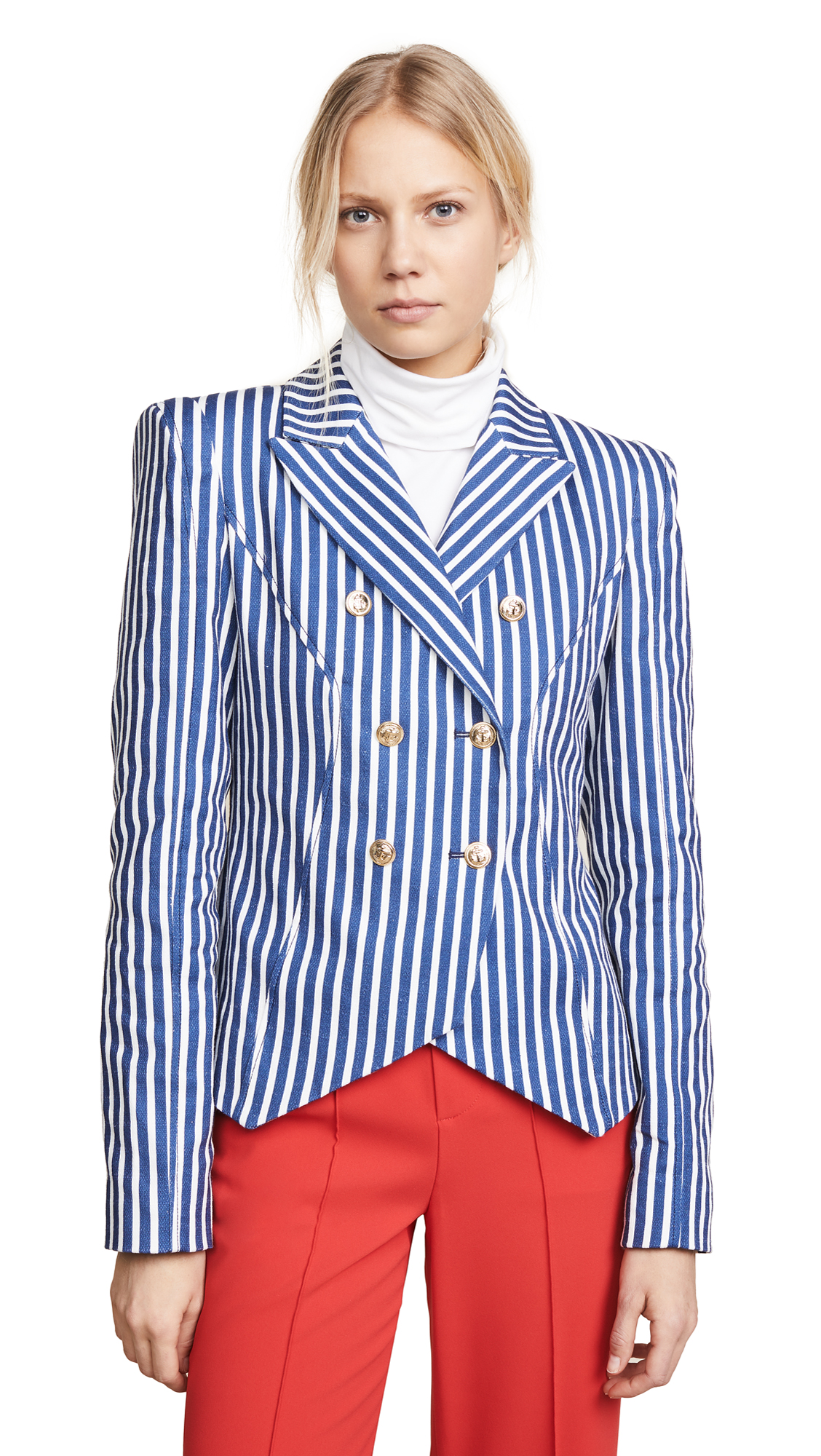Valentina Shah Amanda Double Breasted Blazer In Stripe/Navy