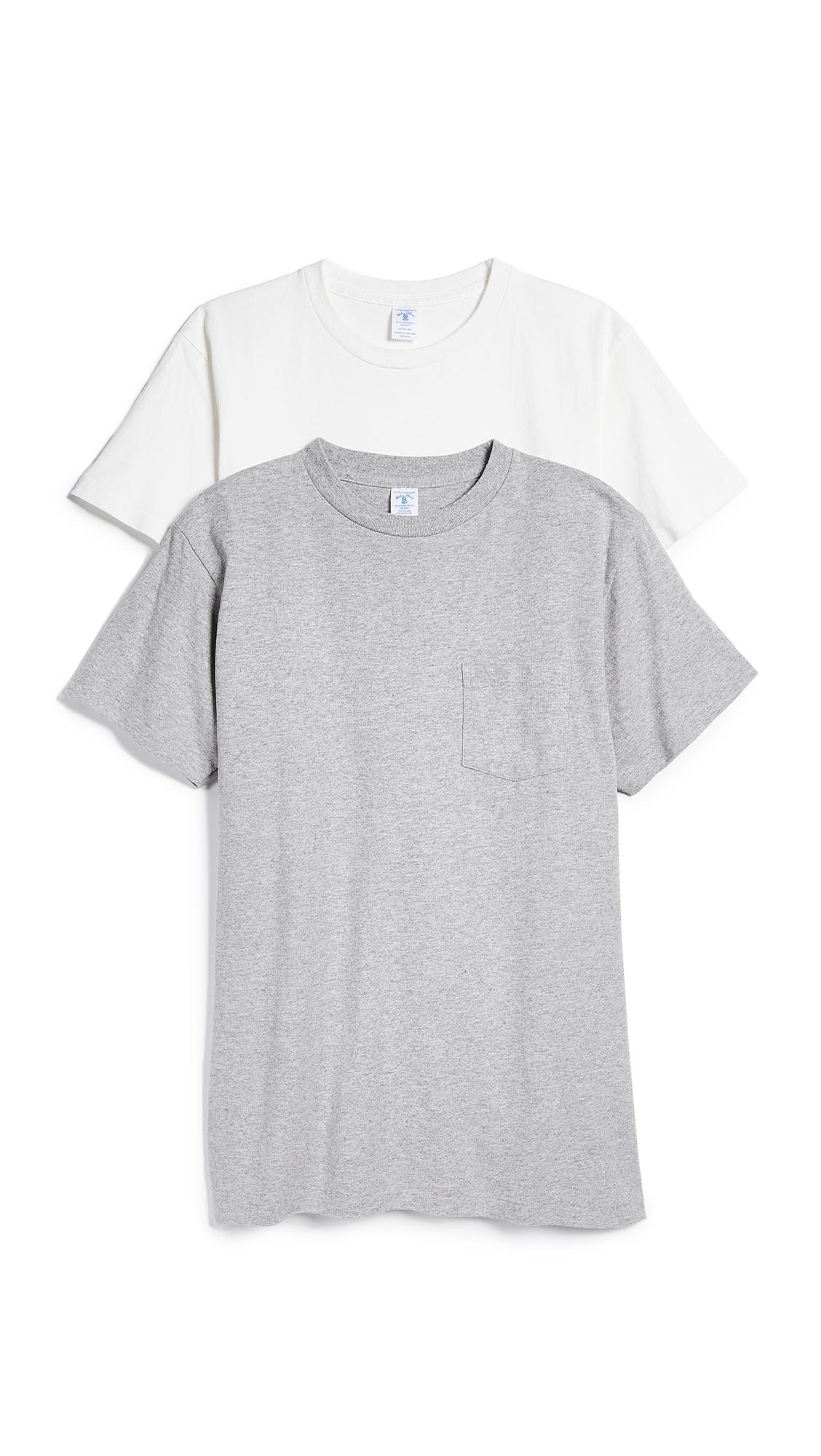 VELVA SHEEN 2 Pack Short Sleeve Pocket Tee in White/Heather Grey