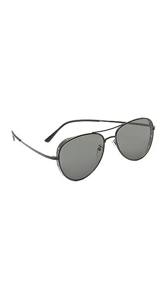 Vedi Vero Shielded Aviator Sunglasses - Black/Black