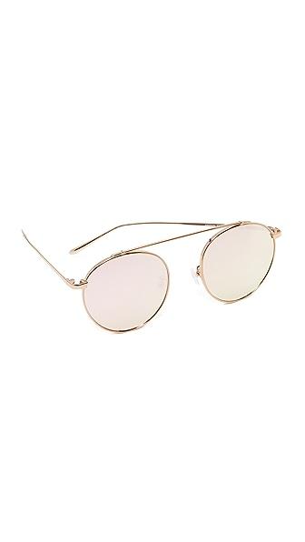 Vedi Vero Vedi by Vedi Vero Browbar Sunglasses In Rose Gold/Rose