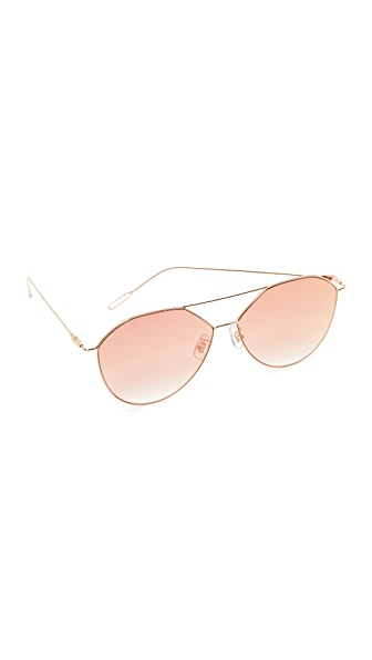 Vedi Vero Vedi by Vedi Vero Geometric Aviator Sunglasses - Gold/Pink