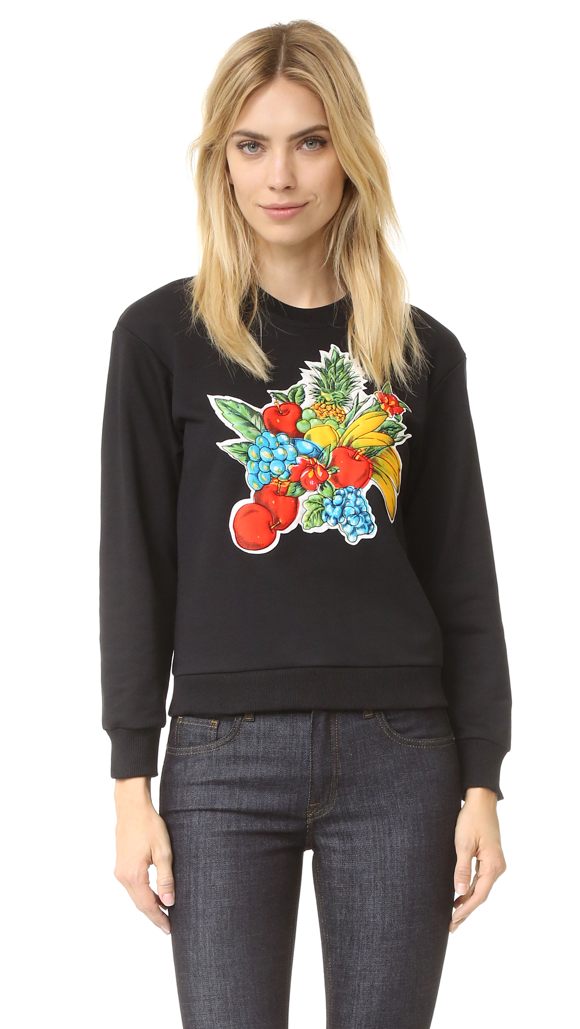 A quilted fruit appliqué lends dimension to this crew neck Victoria Victoria Beckham sweatshirt. Ribbed edges. Long sleeves. Fabric: French terry. 100% cotton. Wash cold. Imported, China. Measurements Length: 22.5in / 57cm, from shoulder Measurements from size S.