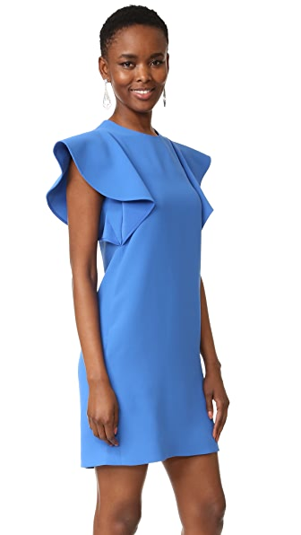 Victoria Victoria Beckham Flounce Sleeve Shift Dress - Blue