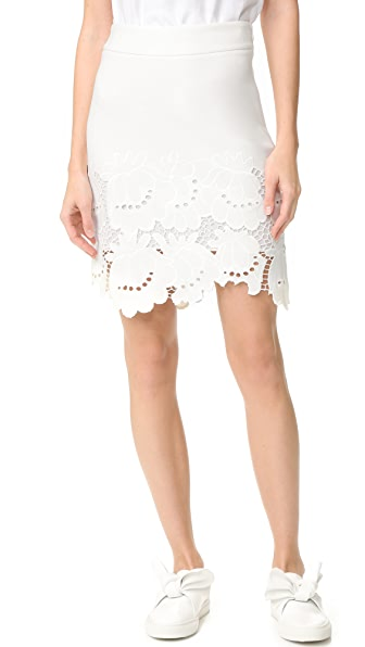Victoria Victoria Beckham Embroidered Hem Skirt