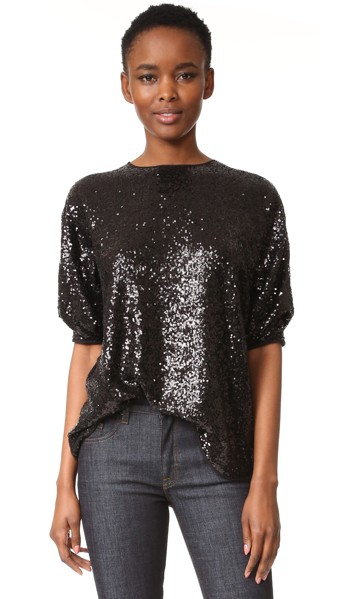 Victoria Victoria Beckham Sequin Tucked Sleeve Top - Black