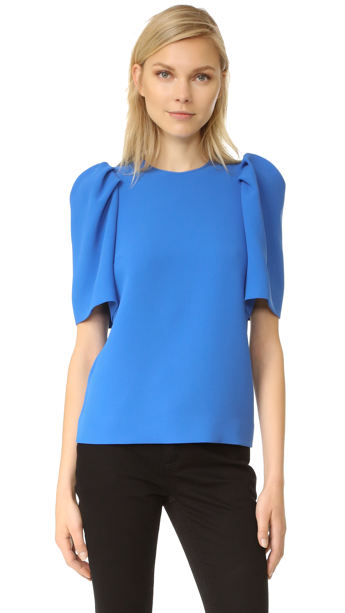 Victoria Victoria Beckham Gathered Sleeve Top - Blue