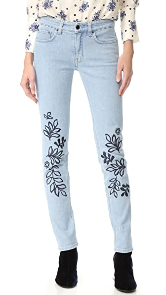 Victoria Victoria Beckham Denim Trouser Jeans In Leaf Print