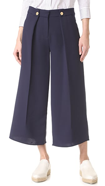 Victoria Victoria Beckham Fold Front Culottes In Navy