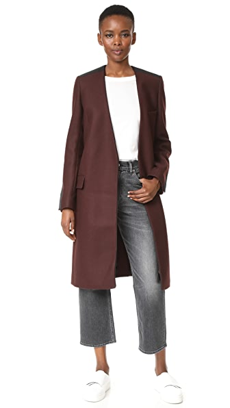 Victoria Victoria Beckham Collarless Straight Coat - Burgundy