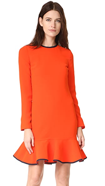 Victoria Victoria Beckham Flounce Hem Dress - Orange Zest